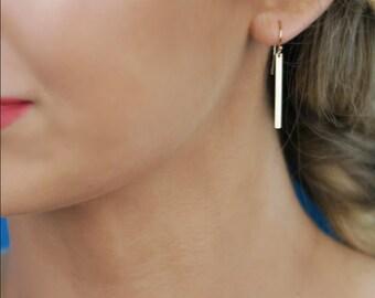 Or la barre boucles d'oreilles - 14 K solide jaune or pendants d'oreilles, boucles d'oreilles de bâton, lisse ou martelé