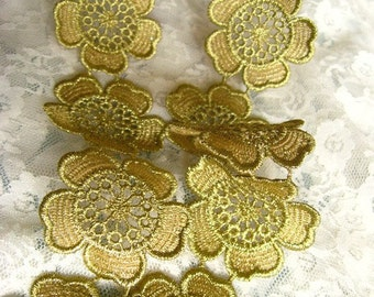 Gold Cord Lace Trim, Baroque Crocheted Lace Trim, Embroidered Flower Lace