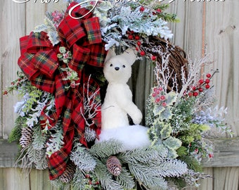 Woodland Winter Arctic Fox Wreath Red Flannel Tartan Plaid, Rustic Fox Floral Christmas Wreath, White  Arctic Fox