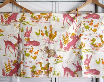 Vintage Pink Novelty Nursery Fabric, Indian Head Mills, Baby Animal Fabric, Barnyard Animal Fabric, Pink Mid Century Baby Girl Deer Fabric