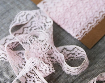 "Vintage lace trim, soft pink lace, 20mm or 3/4"" wide vintage pink lace, wedding lace"