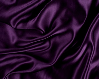 "45"" Wide 100% Silk Charmeuse Eggplant Purple By the Yard (1000M159)"
