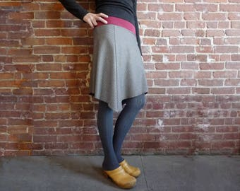 Women's Skirt, A Line Skirt, Pinstripes, Wool Skirt, Asymmetrical, Organic Bamboo, Gray, Office, Midi Skirt, Winter Style, Gift for Her