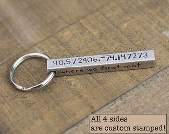 Personalized Mens Gift, Personalized Coordinates Keychain, Custom Longitude and Latitude, Bar Key Chain, 10th Anniversary, GPS, Location