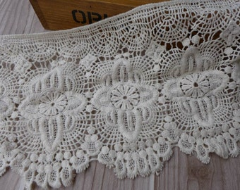 WIDE Cotton Lace Trim Vintage Beige Crochet Lace Scalloped Hollowed Out Lace Fabric 6.7 Inches wide 1 Yard