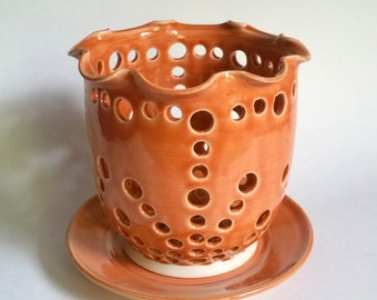 Persimmon Orange Pottery Orchid Flower Pot with Air Vents and a Drip Saucer - Make Your Orchid Happy!