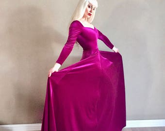 Sale! Magenta Purple Pink VELVET Cherrybomb Ball Gown, Long Sleeved Princess Gown with Sweetheart Neckline, Pinup Wedding, Punk Renaissance