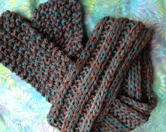 Turquoise and Brown Wool Winter Scarf. One of a Kind Handknit Good Winter/Holiday Gift!