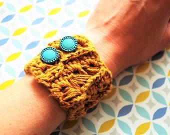 Bracelet crochet cable cotton and linen