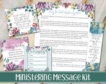 2018 Ministering Message kit | Relief society Message Digital Printable LDS VT handout