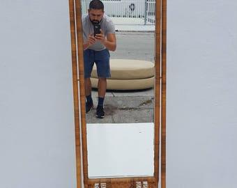 Vintage Woven  Rattan Floor Mirror.