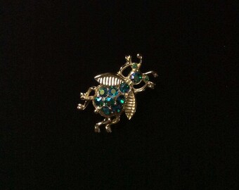 Vintage Insect Brooch- Rhinestone Insect Jewelry- Vintage Insect Jewellery- Rhinestone Bug Brooch- Rhinestone Fly- Vintage Figural Brooch