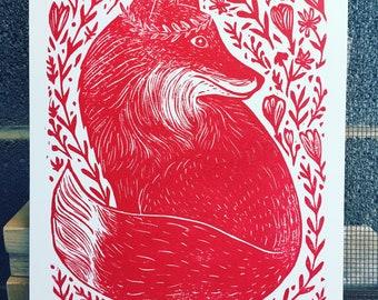 Forest Fox Linoleum block print