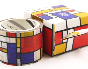 Mondrian Pattern - Japanese Washi Paper Masking Tape - 30mm wide - 5.5 Yard