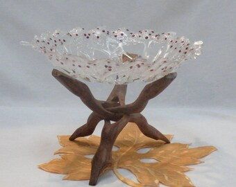 Ice Crystal Bowl with Ruby Red Gems