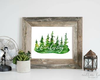 Everlasting Evergreen, Wall art, Watercolor Print, Trees, watercolor forest, christmas, woodland art