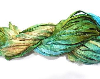 10YD. TIKI HUT Sari Silk Bundle//Dyed Silk Sari Ribbon Bundle//Sari Tassels,Sari Wall Decor,Sari Fiber Jewelry,Sari Tapestry