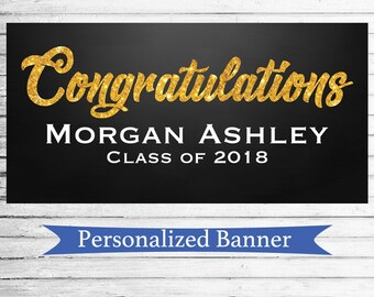 """18""""x30"""" Class of 2018 Party Personalized Graduation Party Banner   Grad Party   Custom Banner   Graduation   Class of 2018 Party Decor"""