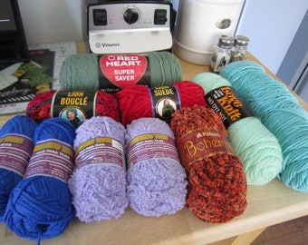 Destash Yarn Assorted Colors Full Skeins Lion Brand, Patons,Red Heart