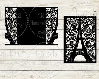 Eiffel Tower Card SVG,Instant Download,Invitation SVG,Cut Invitation Card,Silhouette Cut File,Silhouette SVG File,Laser Cut File,Quinceañera