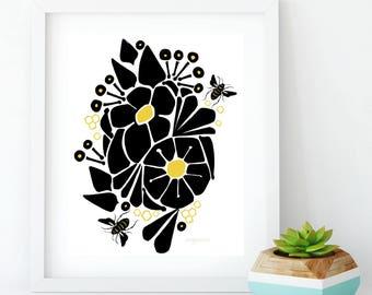 bee print, insect print, minimalist art print, modern minimalist print, wall print, wall art, bumblebee print, insect art, nursery art