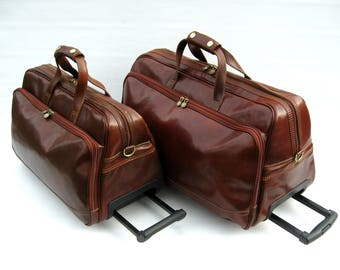 """Italian Leather Weekender Rolling Travel Bags Set Made in Italy """"Enzo Olletti"""""""