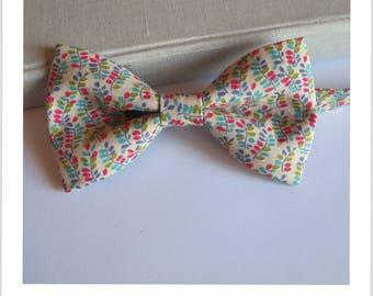 Bow tie cotton floral pastel pink, beige, blue