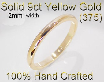 9ct 375 Solid Yellow Gold Ring Wedding Engagement Friendship Half Round Band 2mm