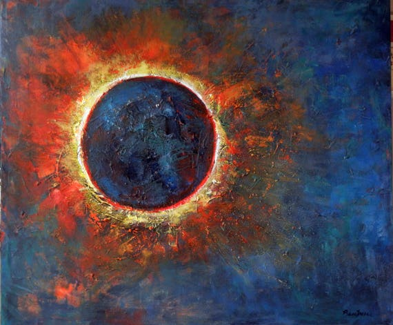 Solar Eclipse Abstract Painting Original art Sun Moon on Canvas 36x30 Art by BenWill