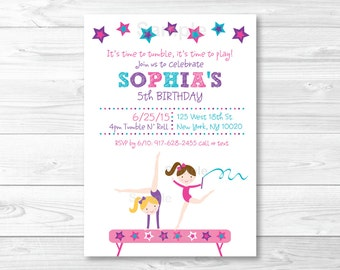 Gymnastics Birthday Invitation / Girl Gymnastics Birthday Invitation / Gymnastics Birthday Party / PRINTABLE A193