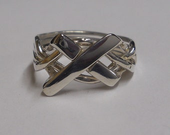 Ladies 4 Band Cross Puzzle Ring in Sterling Silver or Gold 4CR