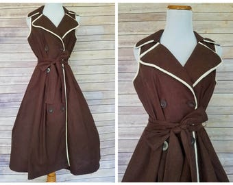 1960s Chocolate Wrap Dress | 1960s Brown Dress | 60s Dress | 1960s Brown Summer Dress | Vintage 1960s Sailor Dress | Vintage Sailor Dress