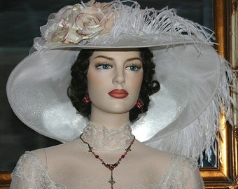 Kentucky Derby Hat, Ascot Hat, Edwardian Hat, Titanic Tea Hat, Downton Abbey Hat - Run for the Roses - Wide Brim Hat Women's