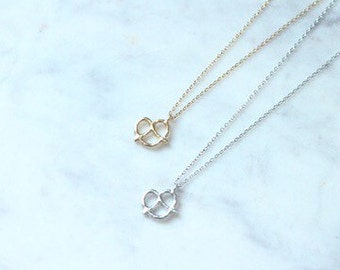 Gold or Silver Pretzel Necklace | Food Necklace | Christmas | Gift for Her | Unique Gifts and Jewelry