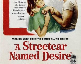 Spring Sales Event: A STREETCAR NAMED Desire Movie Poster 1951 Marlon Brando Broadway