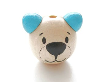 Wooden 3D Teddy bear head bead - natural & Turquoise