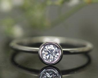 Super Value! Bezel Set Engagement Ring in 14k White Gold, Bezel Set Solitaire, 0.25ct Forever One Moissanite Center, 1.5mm Band, Emerson SV