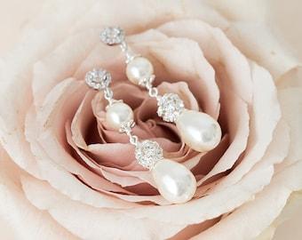 Bridal Earrings Pearl, Wedding Earrings, Teardrop Pearl Earrings, Crystal Pearl Drop Earrings for the Bride