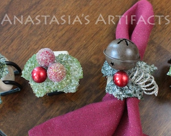 Rustic Country Bells and Berries - Winter Napkin Ring - Christmas Napkin Ring - , Set of 4