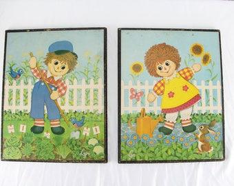 Set Of Vintage Raggedy Ann & Andy Prints