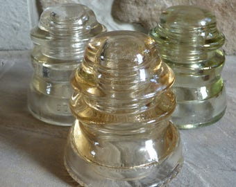 Set of three Clear Glass Insulators