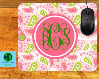 Mouse Pad Monogramed Paisley. Custom Mouse Pad. Monogram Mouse Pad. Custom Office Gifts.