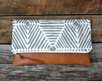 Gray screen printed on cotton slub duck Foldover Clutch / Kindle Case