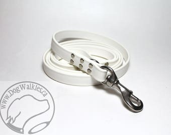"Snow White Genuine Biothane© Large Dog Leash - 3/4"" (19mm) Wide - Waterproof - Handcrafted - Custom length - Choice of hardware"