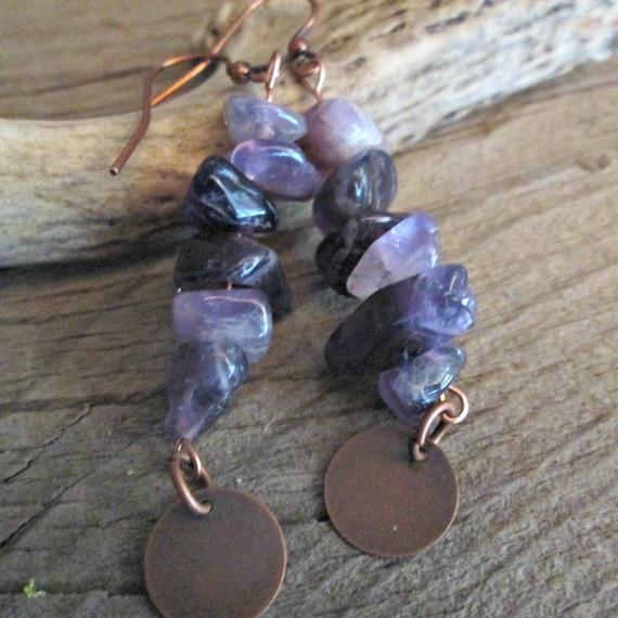 Purple Stone Beaded Earrings, Purple Earrings, Purple Beaded Earrings, Stone Earrings, Earrings