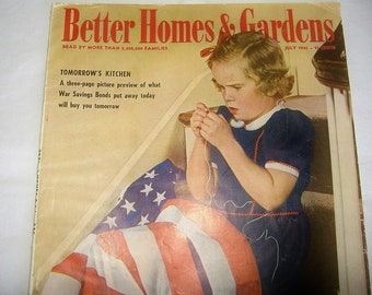 Vintage 1943 BETTER HOMES & GARDENS Magazine • War Era • Girl with American Flag