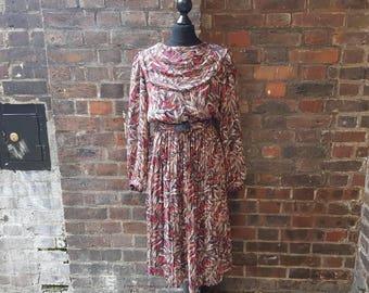 Vintage 1980s  Pleated Midi Dress