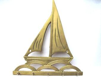 Vintage sailboat key holder brass beachhouse decor preppy decor entry hall
