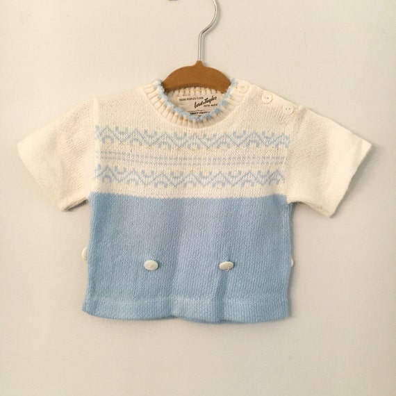 Vintage Blue and White Lord & Taylor Short Sleeved Knit Baby Sweater Size 6-9 Months - Mid Century Vintage Baby Clothing