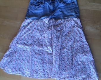floral skirt- upcycled , jeans skirt